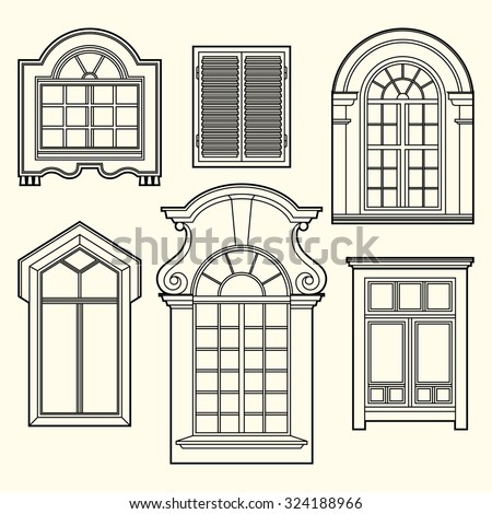 Set of illustrations with a vintage windows.