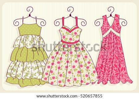 Set of illustrations with dresses. Floral illustration. Vintage