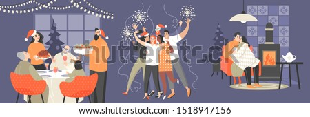 Set of illustrations with family, a group of friends and a couple celebrating Christmas and New Year. Cartoon characters for holiday cards and banners.