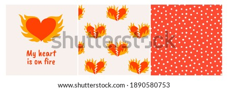 Set of illustrations with flaming hearts. Seamless patterns with dots and hearts. Vector background. Valentine's day, romantic concept. For textile, prints, posters. Foto stock ©