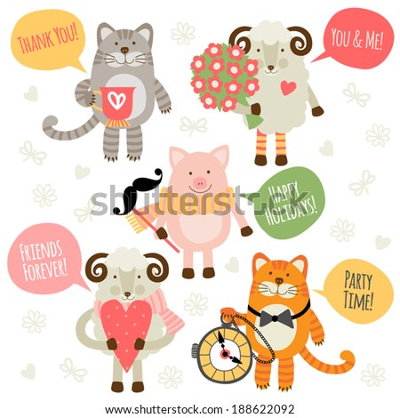 Stock Photo Set of illustrations with traditional greetings. Sheep, cat and pig.