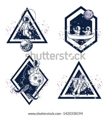 Set of images of astronauts. The astronauts are floating in a canoe, jumping rope, fishing. Fantasy emblems.