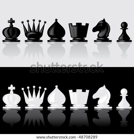 set of images of chess pieces with reflection