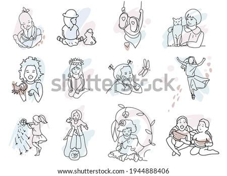 set of 12 images of children