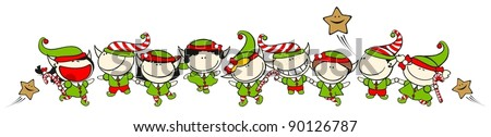 Set of images of funny kids on a white background #60, Christmas elves theme