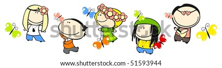 Set of images of funny kids on a white background #28, hippie