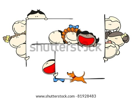 Set of images of funny kids on a white background #46, kids and frames