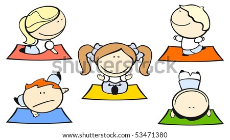 Set of images of funny kids on a white background #29, yoga theme