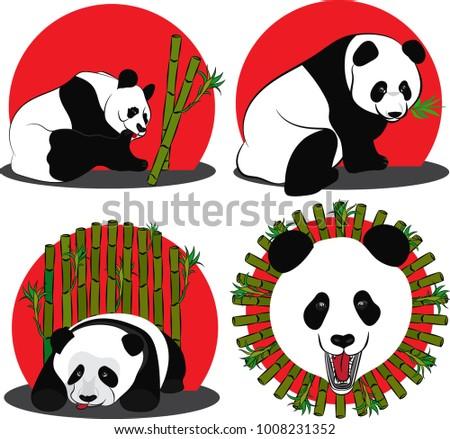 set of images of panda   a