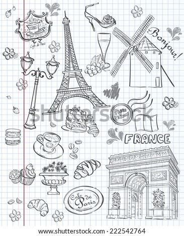 Set of images of various attractions, Paris, France Set of images of various attractions, Paris, France. Black contour