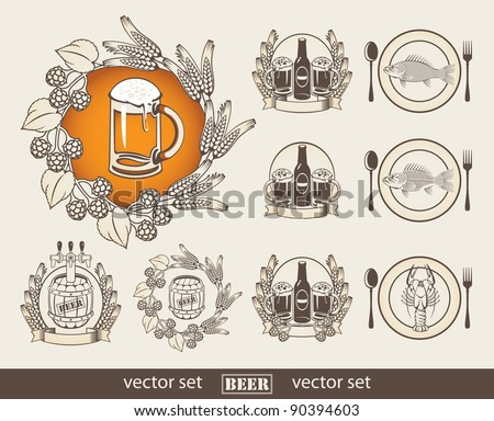 set of images with a beer and a fish