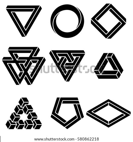 Set of impossible shapes. Optical Illusion. Vector Illustration isolated on white. Sacred geometry. Black lines on a white background.