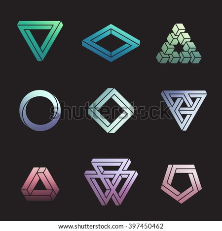 Set of impossible shapes, vector illustration, clipping mask