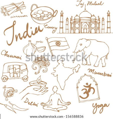Set of India icons doodle vectors