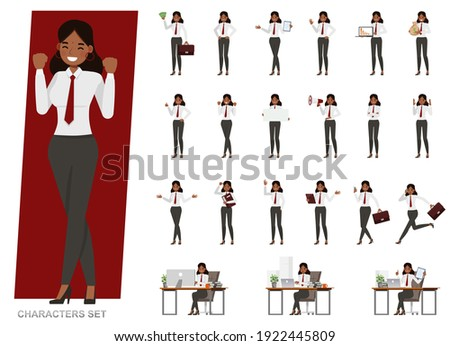 Set of Indian business people character vector design. Presentation in various action with emotions, running, standing and walking. People working in office planning, thinking and economic analysis.