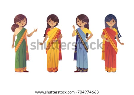Set of indian young women in national costumes. Vector clip art
