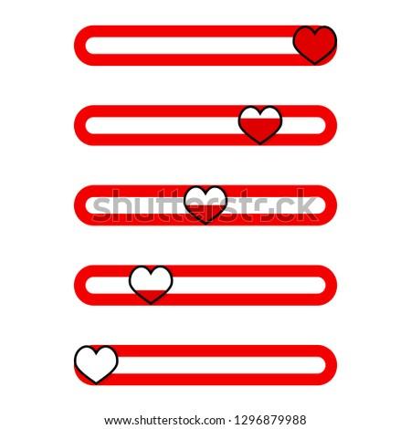 Set of indicator for valentine day mobile app. Vector excellent rating, measurement bar indicate illustration