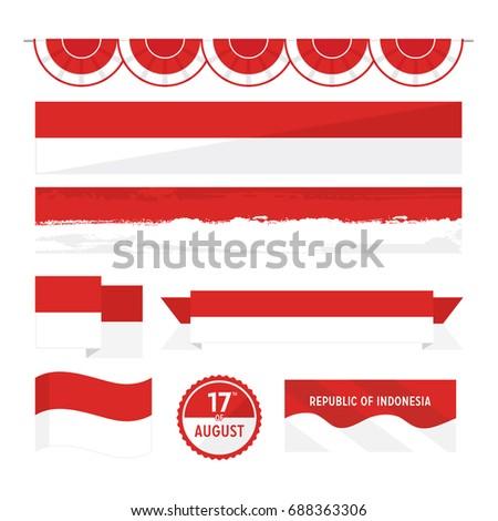 Set of Indonesian flag celebrating independence day