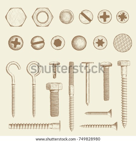 Set of industrial fasteners. Bolt, screws and nail in hand drawn style. Stock Vector sketch illustration