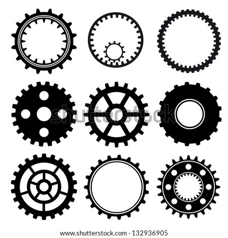 Set of industrial gear wheel vector