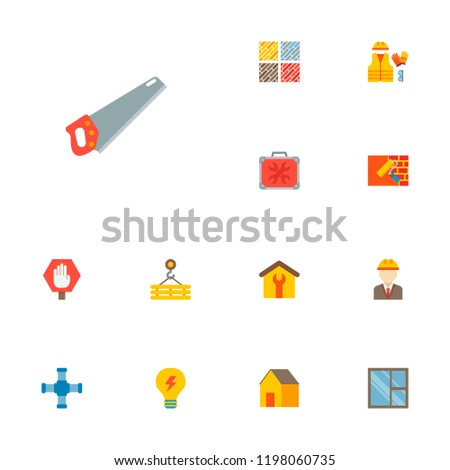 set of industrial icons flat