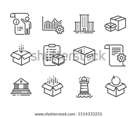 Set of Industrial icons, such as Manual doc, Parcel checklist, Technical documentation, Operational excellence, Open box, Packing boxes, Lighthouse, Office box, Return package line icons. Vector