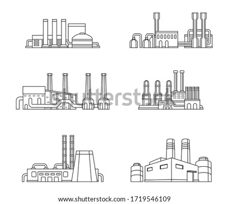 Set of industrial manufactory buildings. Factory, plant, energy and power station.