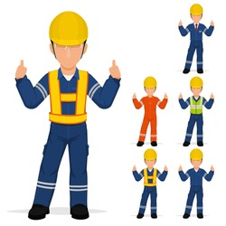 Set of industrial worker is presenting thumbs up
