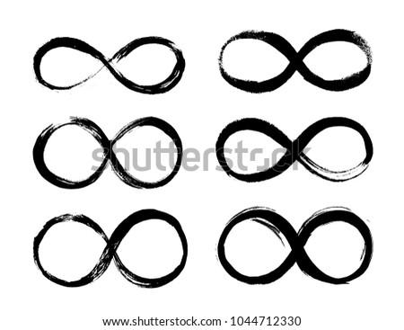 Set of Infinity symbol. Eternal, limitless emblem. Black mobius ribbon silhouette. Grunge brush stroke. Cycle, endless, life concept. Vector illustration. Graphic design element, logo, tattoo