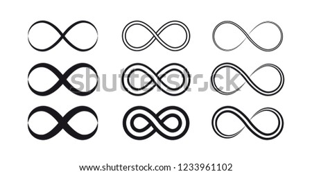 Set of infinity symbols and icons silhouettes. #1233961102