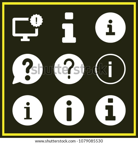 Set of 9 info filled icons such as information button, information symbol, info, information button, monitor, info solid circular button