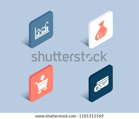 Set of Infochart, Cash and Online market icons. Payment method sign. Stock exchange, Banking currency, Shopping cart. Cash or non-cash payment. 3d isometric infochart buttons. Vector