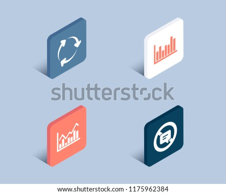 Set of Infochart, Recycling and Bar diagram icons. Stop talking sign. Stock exchange, Reduce waste, Statistics infochart. Do not talk.  3d isometric buttons. Flat design concept. Vector