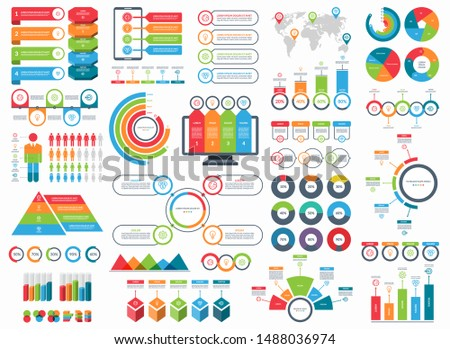 Set of infographic elements. Vector collection of diagrams, arrows, circles, timeline templates, pie charts, demographic icons.