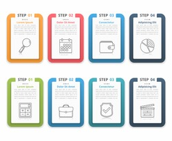 Set of infographic elements with numbers, line icons and place for your text, can be used as workflow, process, steps or options, vector eps10 illustration