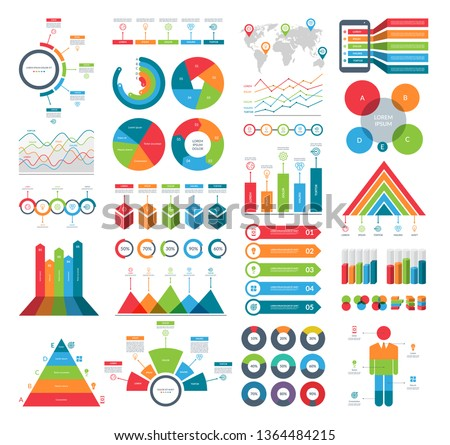 Set of infographic elements with simple templates for business analytics, data visualization, presentation. Vector kit with diagrams, histograms, timeline, pie charts.