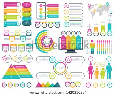 Set of infographic elements with simple templates for business analytics, data visualization, presentation. Vector kit with diagrams, histograms, timeline, pie charts, demographic icons.