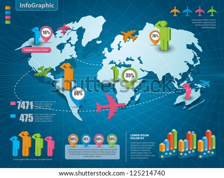 World map infographic icon set download free vector art stock set of infographic elements world map and information graphics gumiabroncs Image collections
