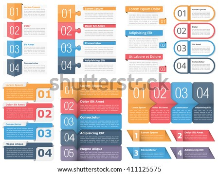 Set of infographic templates with numbers and text, business infographics elements set, workflow, process, steps or options, vector eps10 illustration