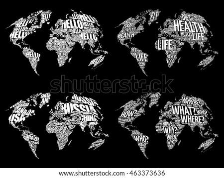 Amrica mapa de la palabra conjunto 3 descargue grficos y set of infographic world word cloud maps in typography health hello question and gumiabroncs Gallery