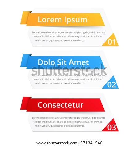 Set of infographics design elements with place for numbers (steps or options) titles and text, vector eps10 illustration