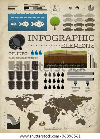 Set of infographics elements | Old paper texture | Vintage style design | Oil icons