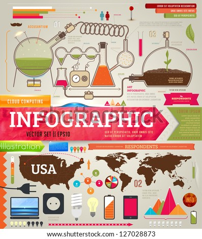 Set of infographics for design with chemical and medical elements, phones, lamps and world and USA maps, eps 10 vector illustration