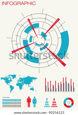 Set  of infographics. World Map and Information Graphics