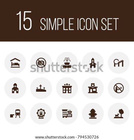 Set of 15 infrastructure icons set. Collection of mosque, railway station, motel and other elements.