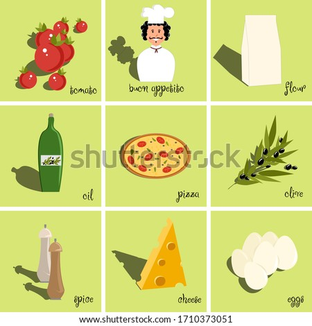 Set of ingredients for pizza and cook, pizza, eggs, oil, flour, spices, oliven, cheese, tomatoes. Vector painting art