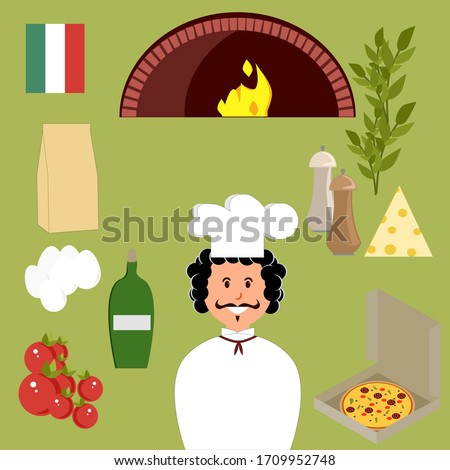 Set of ingredients for pizza and italian cook, pizza, eggs, oil, flour, spices, oven, cheese, tomatoes. Vector painting art