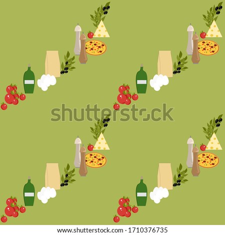 Set of ingredients for pizza, pizza, eggs, oil, flour, spices, olive, cheese, tomatoes. Vector painting art