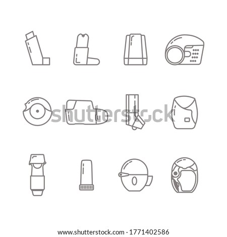 Set of Inhaler icon in line isolated on white background. Breather for cough relief, inhalation, allergic patient. Stock photo ©