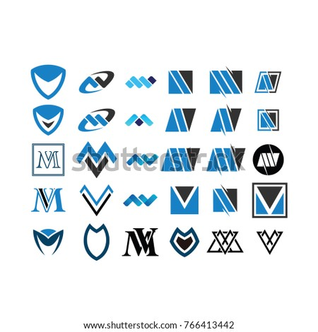 Set of Initial M V Logo Vector Stock fotó ©